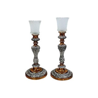 Silver-Plate w/ Copper Candlesticks - Pair