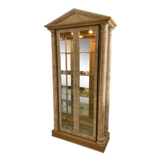 Tessellated Stone and Wood Curio Cabinet by Maitland Smith For Sale