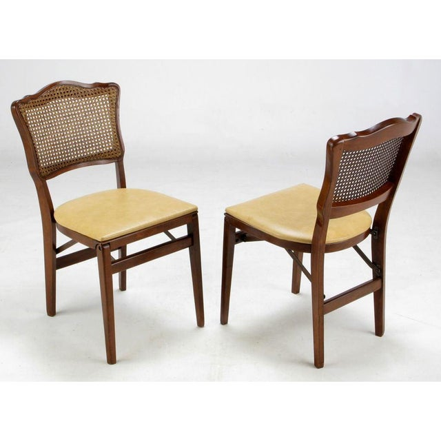 Set of Four Mahogany, Cane & Leather Regency Folding Chairs For Sale - Image 4 of 11