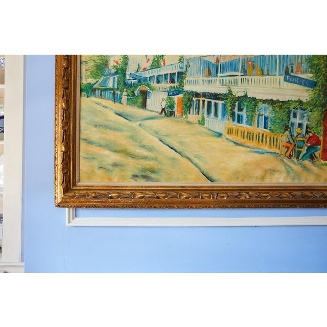 Impressive 20th Century large original oil on canvas of a vivid and colorful French street scene painted in the manner of...