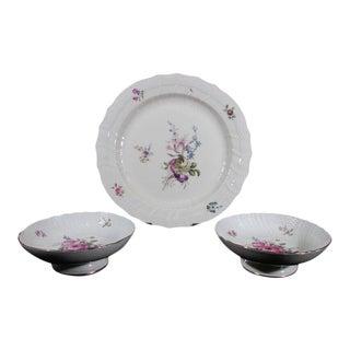 Royal Copenhagen Porcelain Frijsenborg Pattern Cake Plates & Chop Platter - Set of 3 For Sale