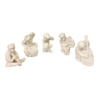 1950s Chinese Blanc De Chine Monkey Musicians - Set of 5