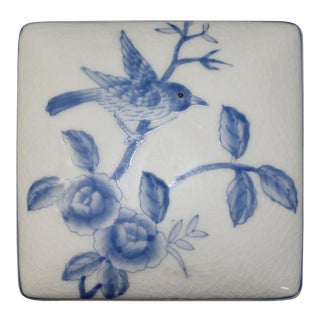 Contemporary Blue & White Flower & Bird Painting Square Porcelain Box - Jewelry Box For Sale