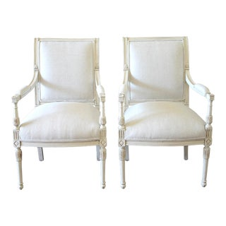20th Century Napoleon Style Upholstered Open Arm Chairs- A Pair For Sale