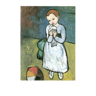 """Pablo Picasso Child With Dove 35.5"""" X 27.5"""" Poster 1997 Cubism Yellow, Blue For Sale"""
