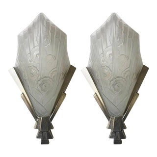 French Art Deco Floral Wall Sconces by J Robert - a Pair For Sale
