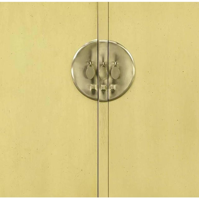 Metal Pair Baker Far East Collection Ivory Glazed Mahogany Cabinets For Sale - Image 7 of 10
