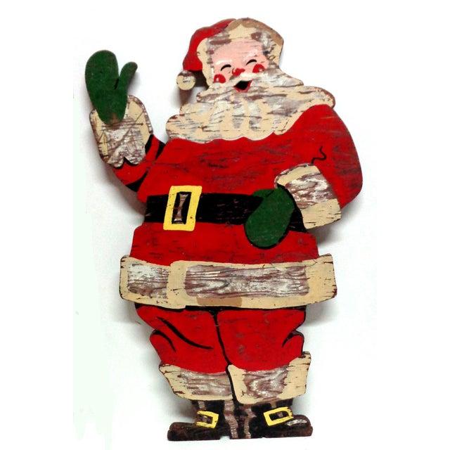 1950s Vintage Santa Claus Wood Sign For Sale - Image 5 of 5
