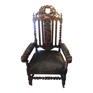 Late 19th Century Antique Carved Oak Arm Chair For Sale