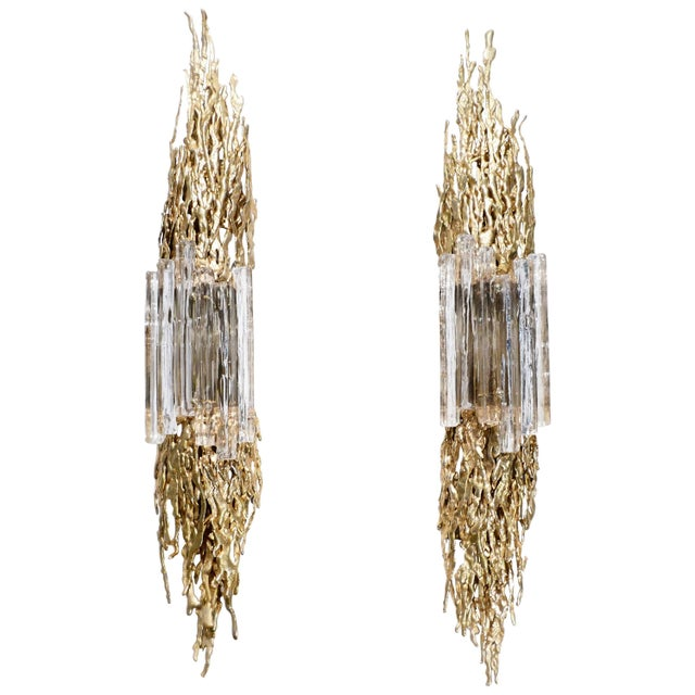 Large Pair of Claude Victor Boeltz Bronze and Glass Sconces, 1970s For Sale - Image 9 of 9