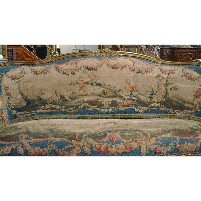Louis XV Carved Gilt & Aubusson Tapestry Canapé - Image 3 of 10