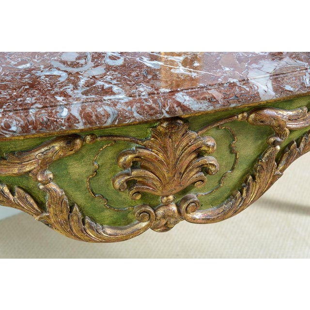 Antique Painted & Parcel Gilt Louis XV Style Console Table With Marble Top For Sale In West Palm - Image 6 of 12