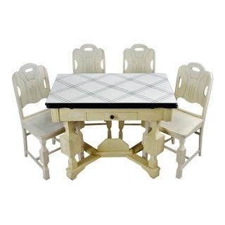 Art Deco Porcelain Enamel Top Dining Set - 5 Piece For Sale