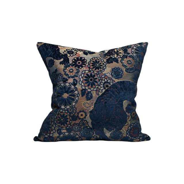 Siberian Tiger Pillow, Sapphire For Sale