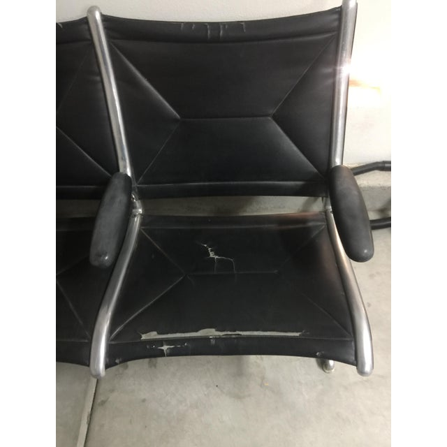 Herman Miller Black Slingback Airport 4-Seat Bench - Image 6 of 8