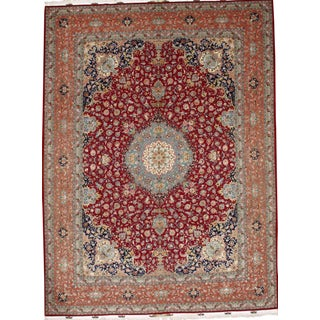 "Pasargad NY Persian Tabriz Silk & Korker Wool Rug - 10' x 13'2"" For Sale"