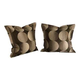 "Pair of 24"" Brown and Tan Geometric Jim Thompson Pillows For Sale"