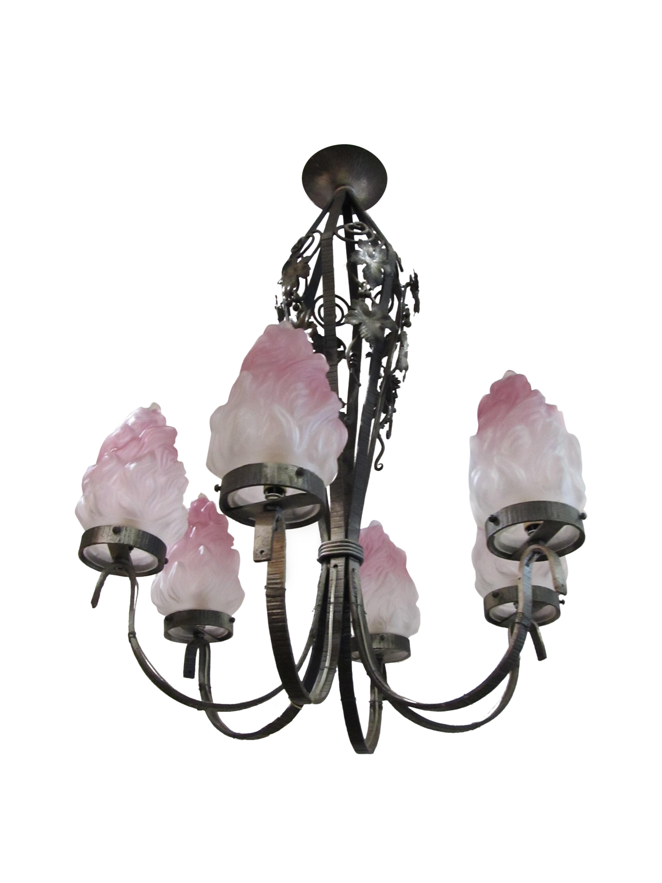 French Art Nouveau Iron Chandelier Chairish