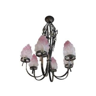 French Art Nouveau Iron Chandelier For Sale