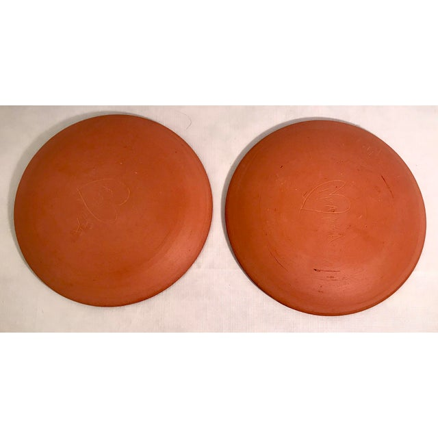 Mid 20th Century Vintage Mid-Century Terra Cotta Slip Design Snack Plates - A Pair For Sale - Image 5 of 7