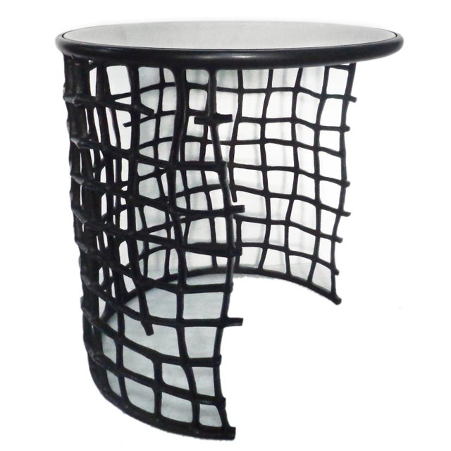 Round Metal Side Nesting Table & Glass Top - 2 - Image 1 of 5