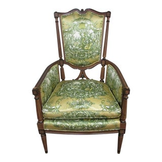 19th Century Vintage French Louis XVI Wood Arm Chair For Sale