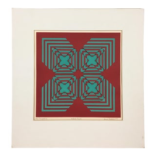 "1971 Vintage ""New Perspective"" Geometric Op Art Serigraph Collage by Anne Youkeles For Sale"