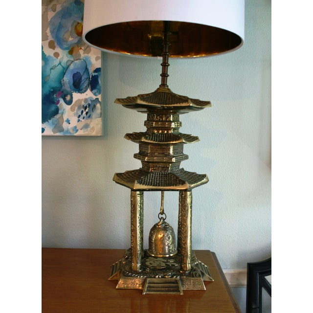 Vintage Brass Pagoda Lamps - A Pair For Sale - Image 9 of 11