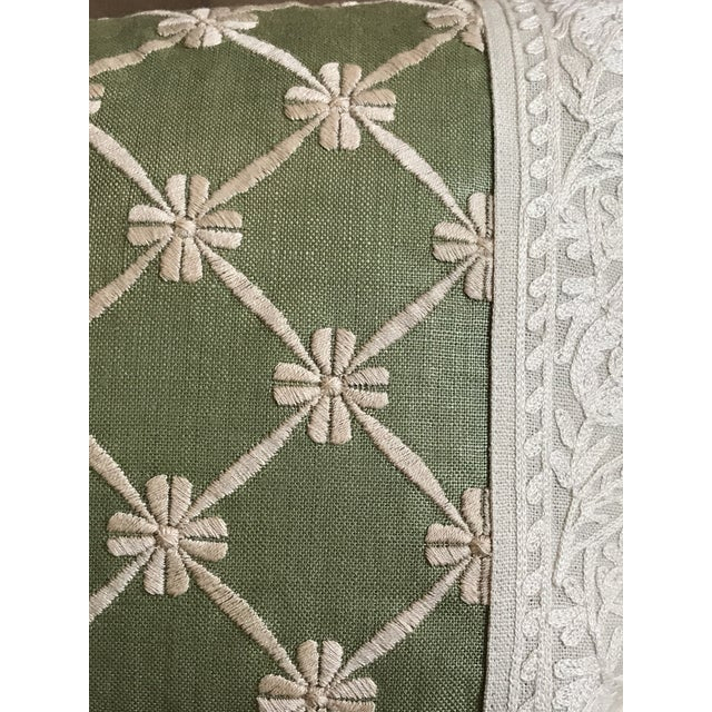 Transitional Green Pillow W/ Natural Embroidered Flower Lattice For Sale - Image 4 of 11