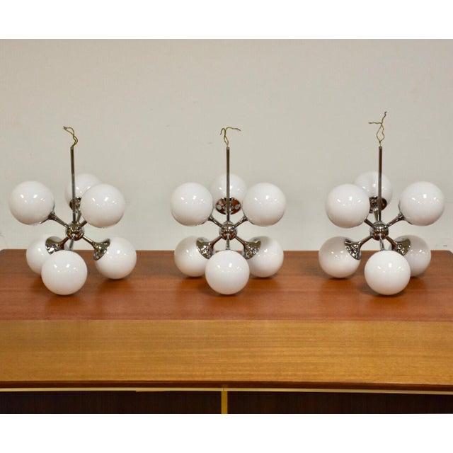 Lightolier Chrome Sputnik Chandeliers- Set of 3 For Sale - Image 9 of 9