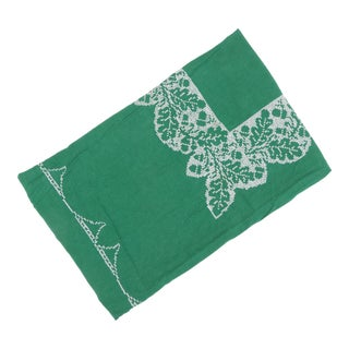 Green Linen Cross Stitched Tablecloth With Oak Leaf & Acorn Pattern For Sale