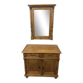 Antique Pine Commode & Mirror For Sale