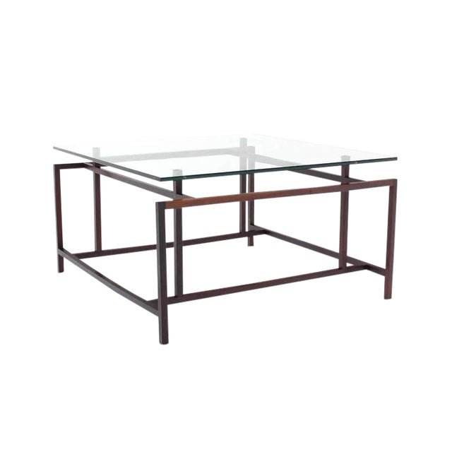 Mid Century Modern Square Rosewood Geometrical Base Glass Top