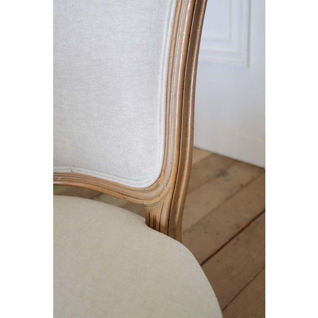 Wood Set of Six Wood Louis XV Style Dining Chairs in Natural Belgian Linen For Sale - Image 7 of 11