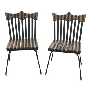Industrial Hand Forged Brutalist Design Wood & Iron Chairs - a Pair For Sale