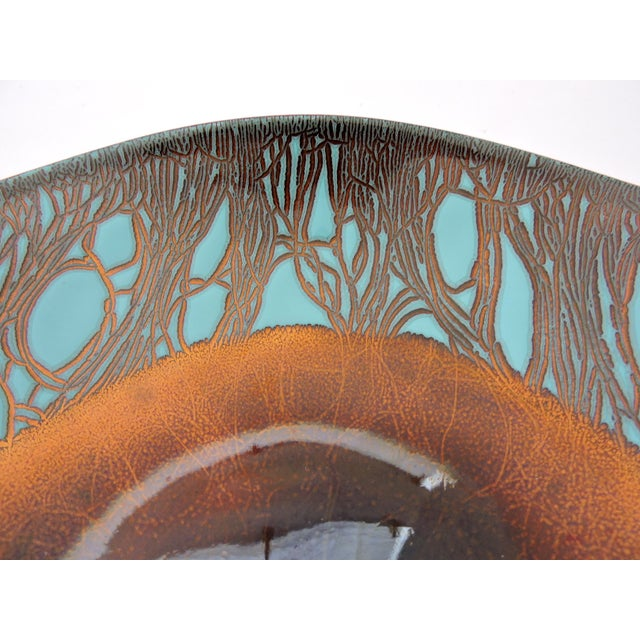 Mid 20th Century Contemporary Russian Turquoise & Bronze Enamel Plate/Bowl by H Tishler For Sale - Image 5 of 7