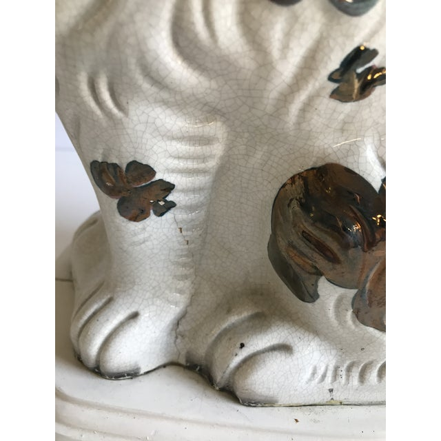 Antique English Staffordshire Spaniel Dog Lamps - A Pair - Image 5 of 9