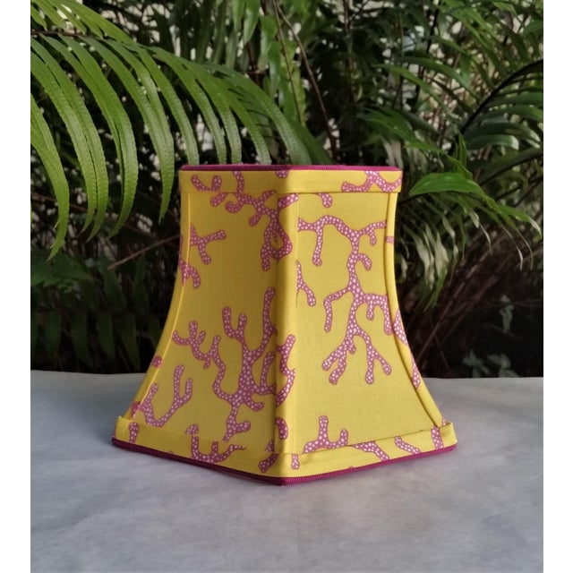 Not Yet Made - Made To Order Lilly Pulitzer Fabric Lampshade Yellow Pink Coral Clip On For Sale - Image 5 of 11