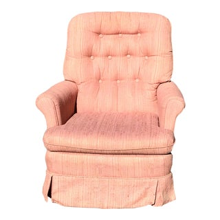 Vintage Mid Century Modern Tufted Swivel Club Chair For Sale