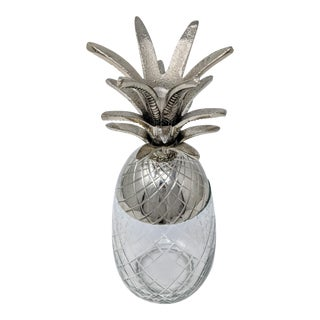Glass With Cast Metal Greenery Pineapple Container