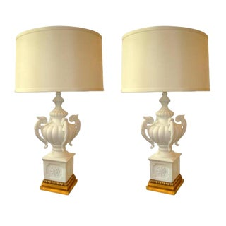 Pair Hollywood Regency Plaster of Paris Urn Form Table Lamps For Sale