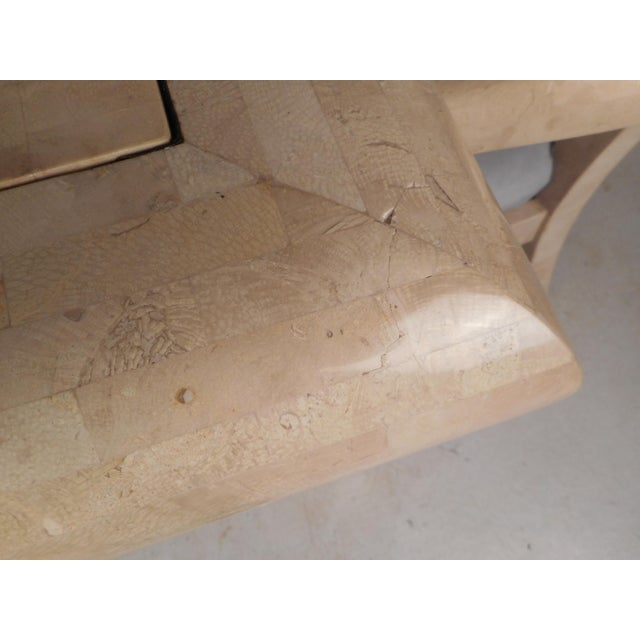 Mid-Century Maitland Smith Tessellated Stone Game Table With Two Chairs For Sale - Image 10 of 13