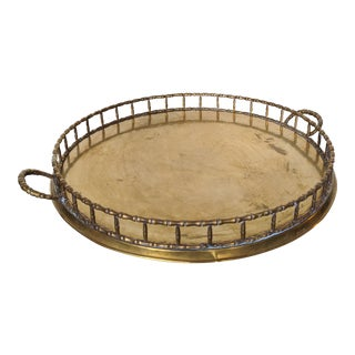 Mid-Century Faux Bamboo Large Brass Tray For Sale