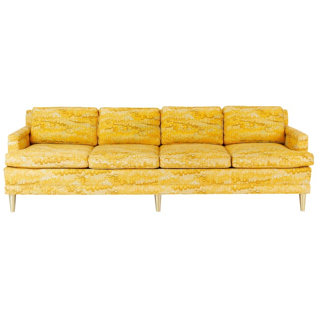 Jack Lenor Larsen 4 Seat Sofa on Brass Legs For Sale