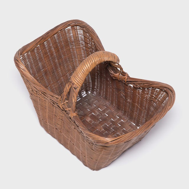 Asian Chinese Twist Woven Market Basket For Sale - Image 3 of 8