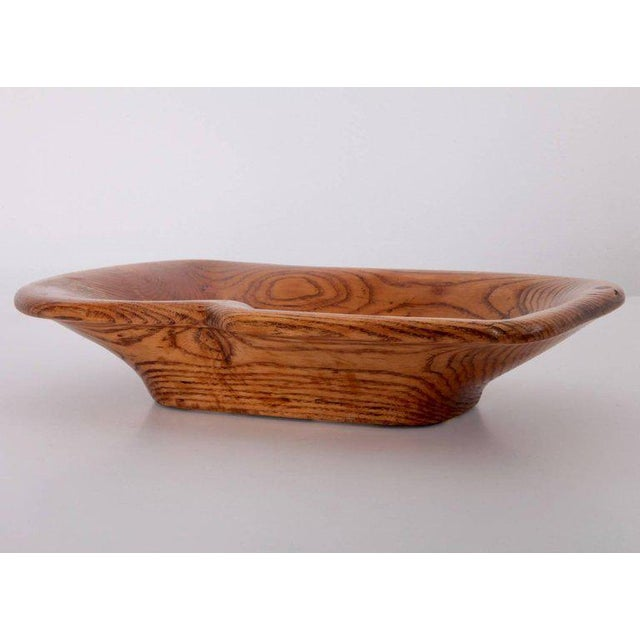 Mid-Century Modern Large American Organic Free-Form Studio Bowl in Ash For Sale - Image 3 of 3