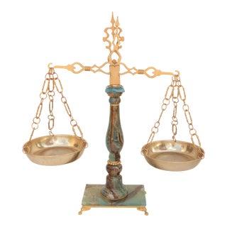 Ormolu Mounted Blue Green Onyx Balance Scale