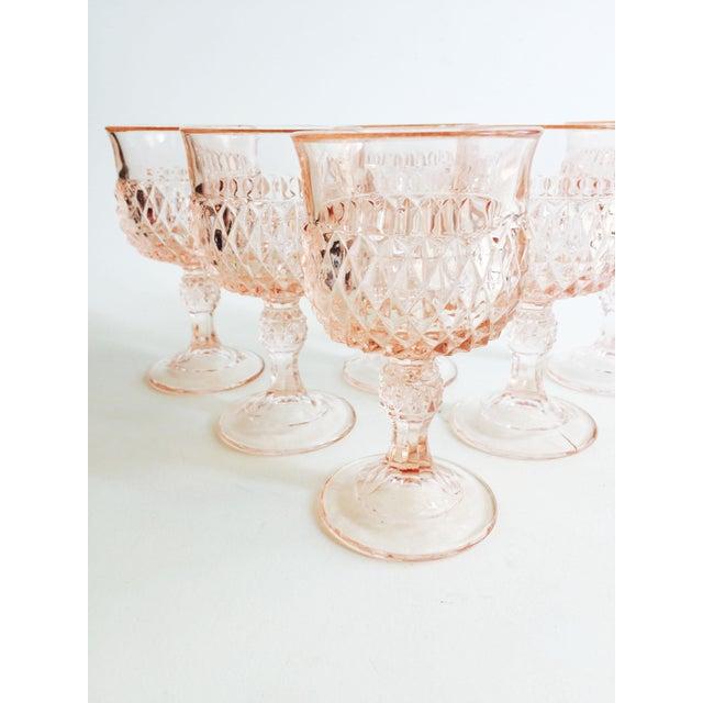 Vintage Blush Pink Wine Glasses - Set of 6 For Sale - Image 4 of 5