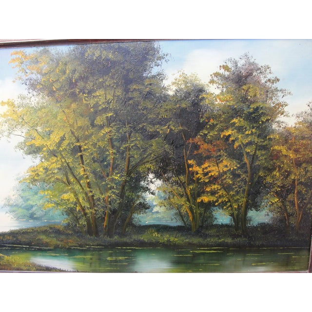 Mid Century Oil on Board Landscape Painting by Paul Chen For Sale - Image 5 of 8