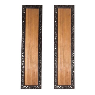 1900s Vintage Chinese Floral Carved Hardwood Frames- A Pair For Sale